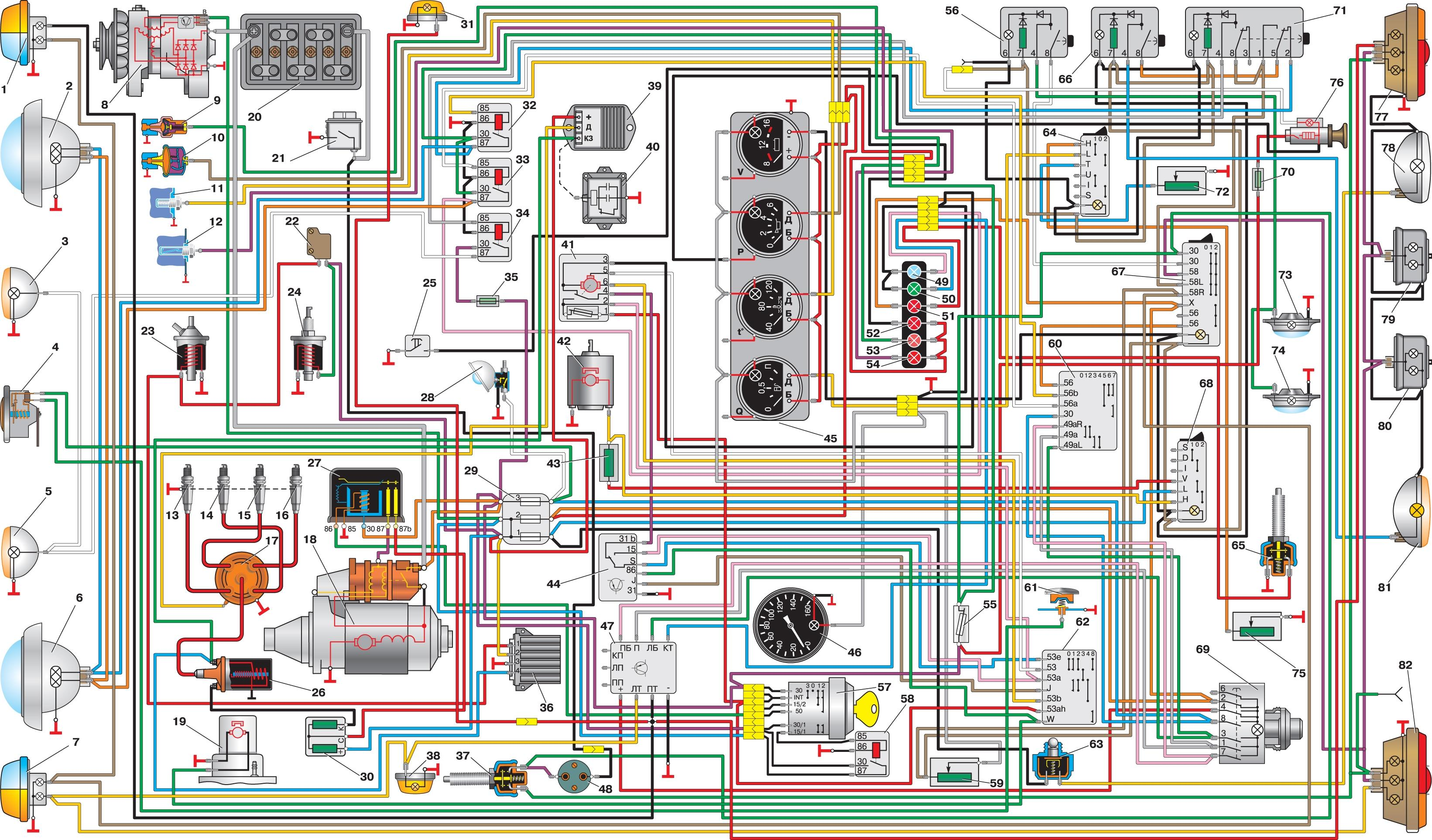 электрическая схема волгу 3102